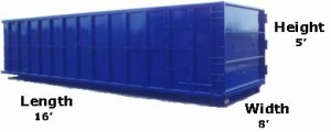 20 Yard Dumpster Sizes and Pricing - 16'L x 8'W x 5'H